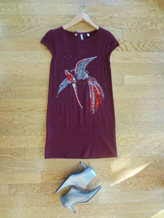 Iisli Burgundy Sweater Dress $109.00 - Rampage Silver Ankle Boot $20.00
