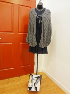 Grew Sweater Cape $59.00 - Black Versace Dress $139.00 - BCBG Clear/Black Heels $39