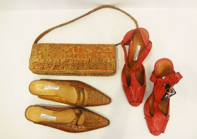 Clarita (Handmade in Italy): Camel Crocodile Clutch - $188, Camel Crocodile Flats (size 6) - $198, Red Crocodile Heels (size 8) - $198