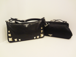 Prada black studded - $699, Prada black evening bag - $230