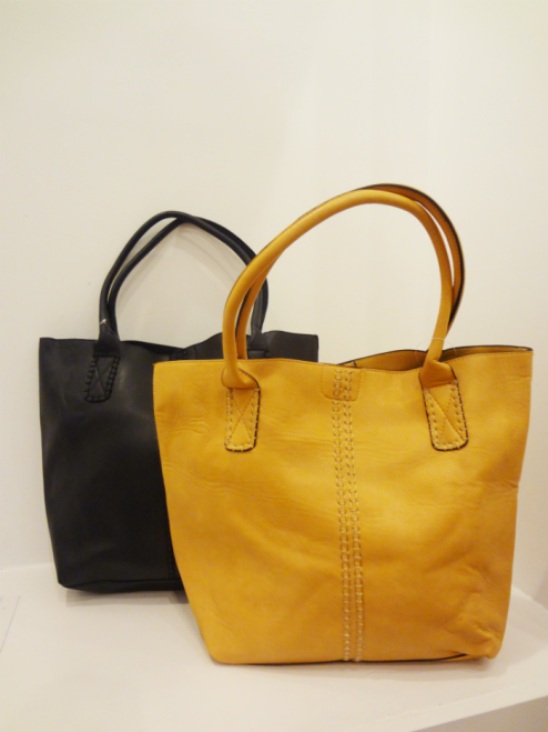Tote Bags in Mustard and Black - $49.00