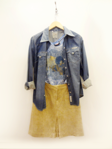Lucky Denim Shirt - $19 Junk Food T Shirt - 19 Lilly Pulitzer Suede Skirt - $26