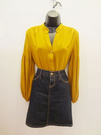 Zara Basic Mustard Blouse $29.00 - Gap Denim Miniskirt $15.00